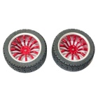 DIY 65mm Car Model TT Motor Wheels - Red + Black (2 PCS)