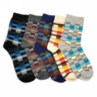 Men's Fashionable Lattice Pattern Mid-calf Length Cotton Socks - Multicolor (5 Pairs)