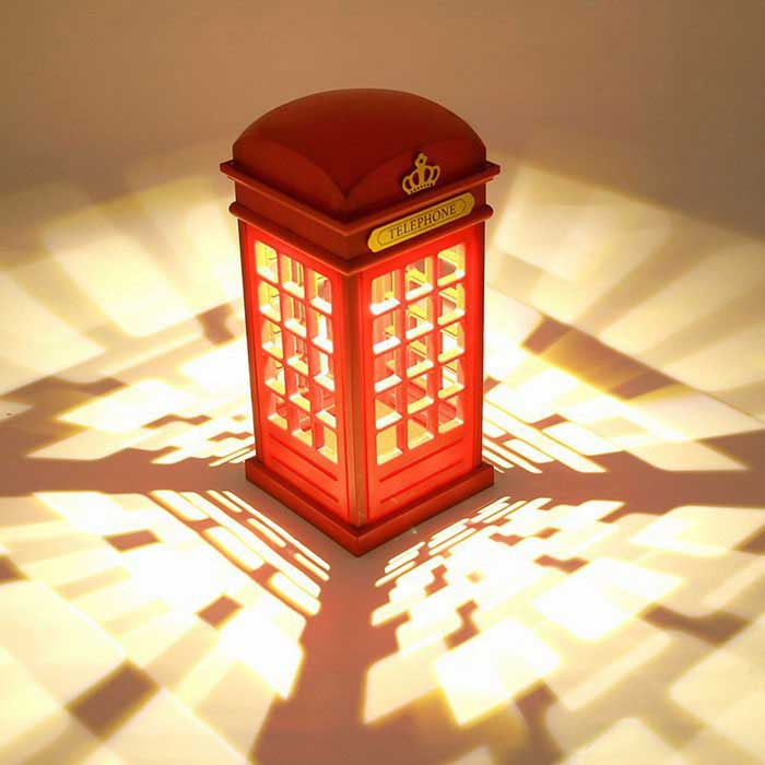 London telephone booth style touch control led table night for Table pour tele