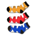EUR38-43 Unisex Weather Cloudy Pattern Breathable Short Socks - Red + Blue +  Orange (3 Pairs)