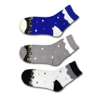 Weather Snow Pattern Breathable Short Socks - Blue + Gray + White (3 Pairs)