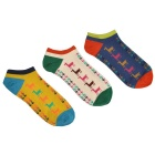 Animal Pattern Socks - Yellow + Blue + Multicolored (3 Pairs)