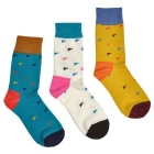 Men's Colorful Cotton + Polyester + Spandex Socks (3 Pairs)