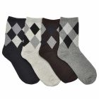 Rhombus Pattern Thick Casual Socks for Men (Size 40~45 / 4 Pairs)