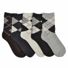 Rhombus Pattern Thick Casual Socks for Men (Size 40~44 / 5 Pairs)