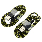 USB 2.0 to Micro USB V8 Braided Charging & Data Sync Cable for Samsung & More - Black + Yellow(2pcs)