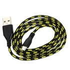USB 2.0 to Micro USB V8 Braided Charging Cable - Black + Yellow (2PCS)