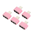 Universal USB 2.0 Female to Micro USB Male OTG Adapter Set - Pink (5PCS)