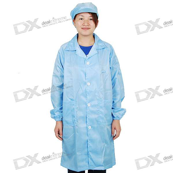 Unisex Anti-Static LAB Smock Clothes Coat with Hat - Blue Stripes (Size-S)