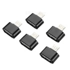 Universal USB 2.0 Female to Micro USB Male OTG Adapter Set - Black (5PCS)