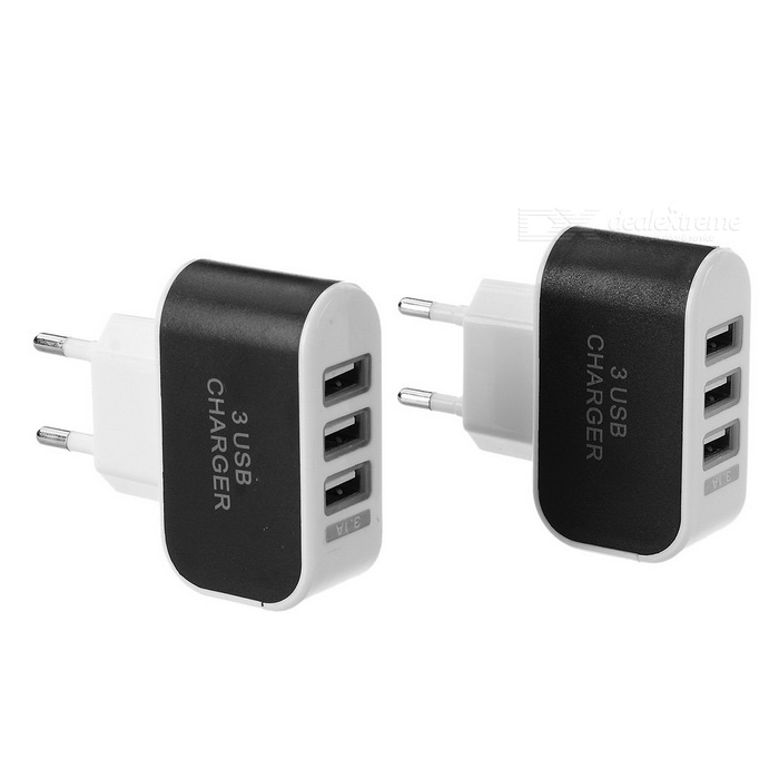 3-USB 3.1A EU Plug Quick-charge AC Charger - Black + White (2PCS)AC Chargers<br>Form ColorBlack + WhiteModelN/AMaterialABSQuantity2 DX.PCM.Model.AttributeModel.UnitCompatible ModelsUniversalInput Voltage100~240 DX.PCM.Model.AttributeModel.UnitOutput Current3.1 DX.PCM.Model.AttributeModel.UnitOutput Voltage5 DX.PCM.Model.AttributeModel.UnitPower AdapterEU PlugOther FeaturesSingle USB in charging Max. current 2.1A; Dual USB in charging Each port 1A; Triple USB in charging total output Max. current 3.1APacking List2 x EU plug chargers<br>