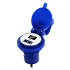 Universal USB Motorcycle Power Charger w/ Switch / Cover - Blue