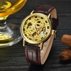 MCE Skeleton PU Band Automatic Mechanical Analog Wrist Watch - Wine Red + Golden