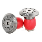 JCSP S-117 Aluminum Bike Handlebar End Plugs - Silver + Red (2PCS)