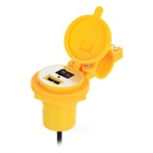Universal USB Motorcycle Power Charger w/ Switch / Cover - Yellow