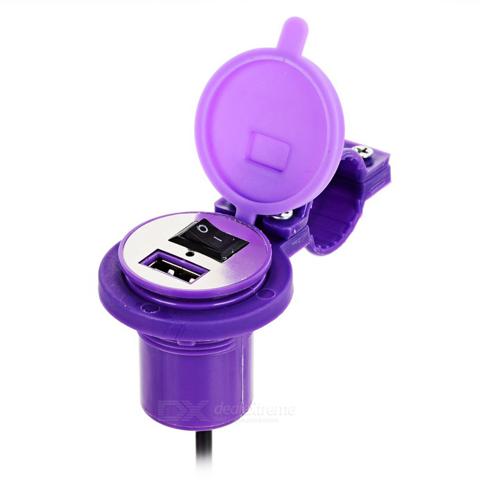 Universal USB Motorcycle Power Charger w/ Switch, Cover - Purple+Black