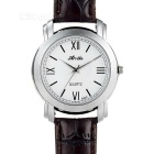 Unisex Fashionable PU Band Quartz Analog Wrist Watch - Dark Brown + White