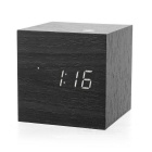 Creative Wooden Sound Control LED Alarm Clock - Black