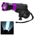 SOLDIER Handlebar Mounted White 3-Mode LED Bike Light - Black + Purple
