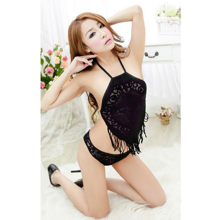 9abd5a47a8 Mesh Halter Apron Two-Piece Sexy Lingerie - Black - Free Shipping -  DealExtreme