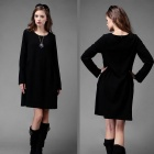 Fashionable Slimming Long-Sleeved Cotton Dress - Black (Size XXL)