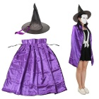 Cosplay Double-sided Witch Cloak w/ Hat for Kids - Black + Purple