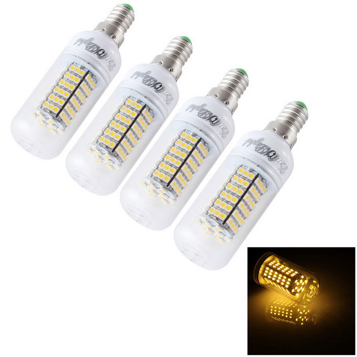 Lámpara del bulbo del maíz del youoklight E14 12W LED blanco caliente 3000K 120-SMD (4PCS)
