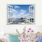 3D Beautiful Landscape PVC Wall Sticker Decal - Blue + White