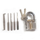 Transparent Practice Padlock + 5 Lock Picks Tool Set - Silver