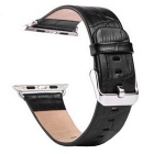 TOCHIC Replaceable Genuine Leather Watch Band Buckle Wristband for Apple Watch 38 mm - Black