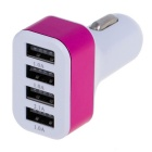 Coated-metal Circle 5.1A 4-Port USB Universal Quick Car Charger Adapter - White + Deep Pink (12~24V)