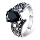 Simple Water Drop Style Black Crystal Ring for Women - Silver (US Size: 8)