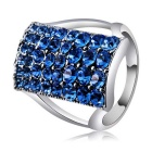 Rectangular Crystals Studded Ring for Women - Silver + Blue (US Size: 8)