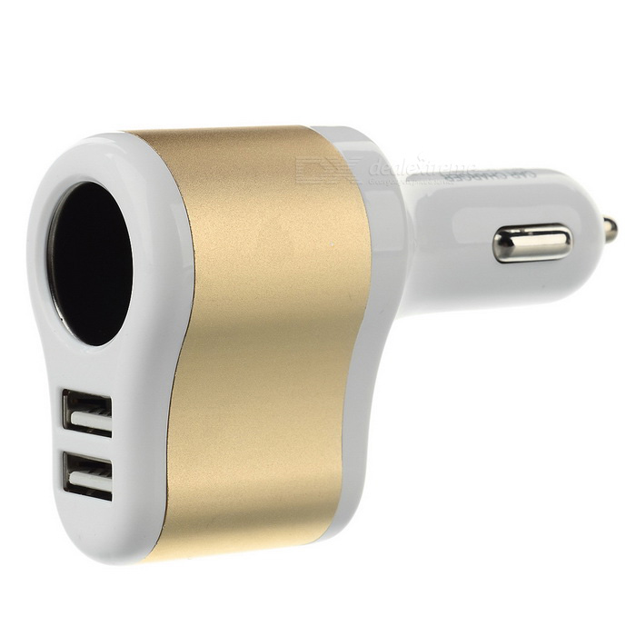 Universal 5V / 3.1A Dual USB Car Charger w/ Cigarette Lighter Socket - White + Golden
