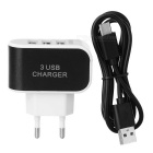 Cwxuan Universal Fast Charging USB 3-Port EU Plug Charger + USB 3.1 Type-c to USB 2.0 Cable - Black