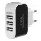 Fast Charging 3-USB Charger + USB 3.1 to USB Cable - Black