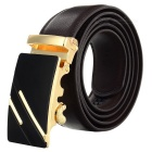 Men's Leather Waist Belt w/ Parallel Lines Pattern Zinc Alloy Automatic Buckle - Golden + Coffee