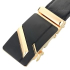Men's Split Leather Waist Belt w/ Zinc Alloy Buckle - Golden + Black