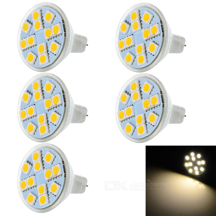 MR11 3W LED Cup Lamps Warm White 3300K 180lm 12-5050 SMD (5PCS)