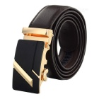 Men's Fashionable Split Leather Waist Belt w/ Zinc Alloy Automatic Buckle - Golden + Coffee