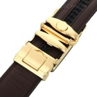 Men's Split Leather Waist Belt w/ Zinc Alloy Buckle - Golden + Coffee