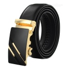 Men's Leather Belt w/ Parallel Lines Pattern Buckle - Golden + Black
