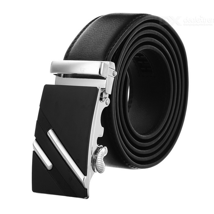 Men's Leather Belt w/ Parallel Lines Pattern Buckle - Silver + Black
