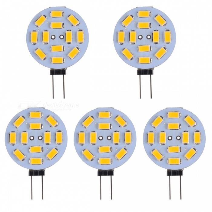 G4 2.5W 12-5730 SMD 200lm 3200K Warm White Lights (DC 12V / 5PCS)