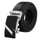 Men's Fashionable Split Leather Waist Belt w/ Zinc Alloy Automatic Buckle - Silver White + Black