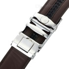 Men's Split Leather Waist Belt w/ Zinc Alloy Buckle - Silver + Coffee