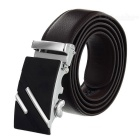 Men's Leather Waist Belt w/ Parallel Lines Pattern Zinc Alloy Automatic Buckle - Silver + Coffee