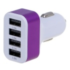 5.1A 4 Ports USB Universal Quick Car Charger Adapter - White + Purple (12~24V)