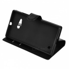Lychee Pattern PU Case w/ Card Slots for Nokia Lumia 730 - Black