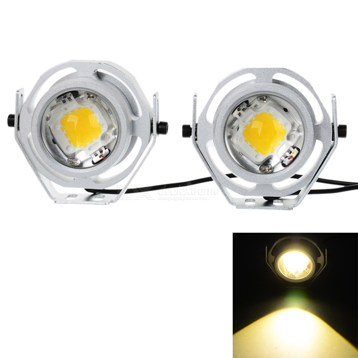 Waterproof Wired 6W 500lm Warm White Light 9-LED Car Headlamp (2PCS)